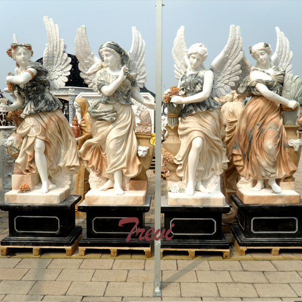 Multi color marble the four goddesses of the seasons angel statues for sale TMC-23