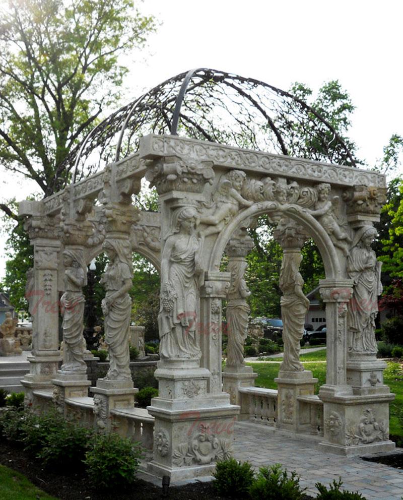 Outdoor Italian antique white marble long gazebo for garden decoration designs