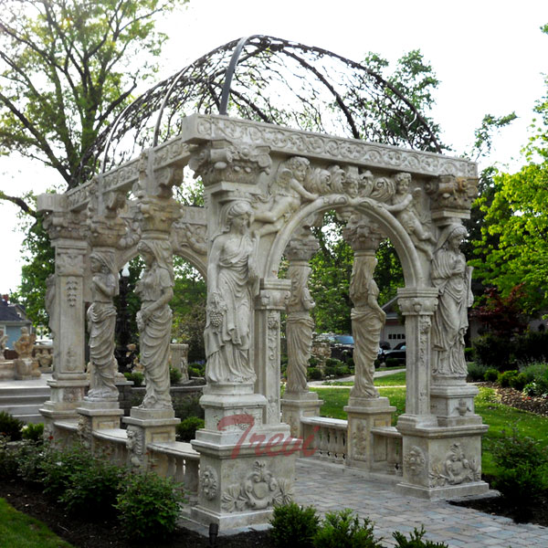 Outdoor Italian antique white marble entry way gazebo for garden decoration TMG-29