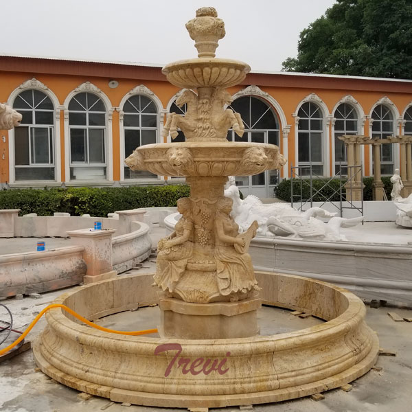 Outdoor antique beige marble 3 tiers water fountain for garden landscape designs TMF-21