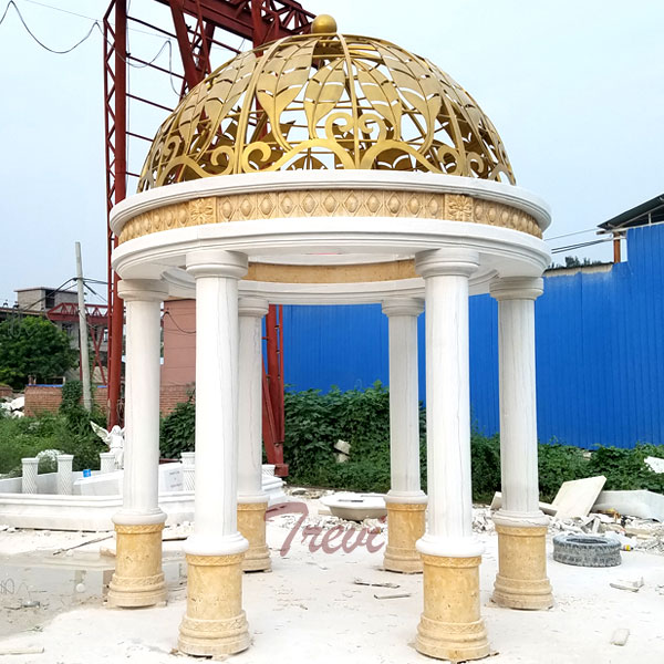 Outdoor garden landscape golden round marble gazebo for Saudi Arabia clients TMG-21