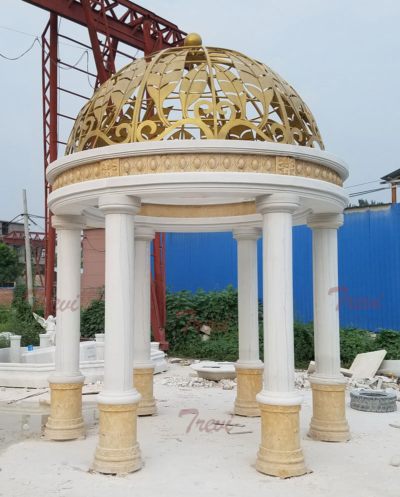 Outdoor garden landscape golden round marble gazebo for Saudi Arabia clients designs