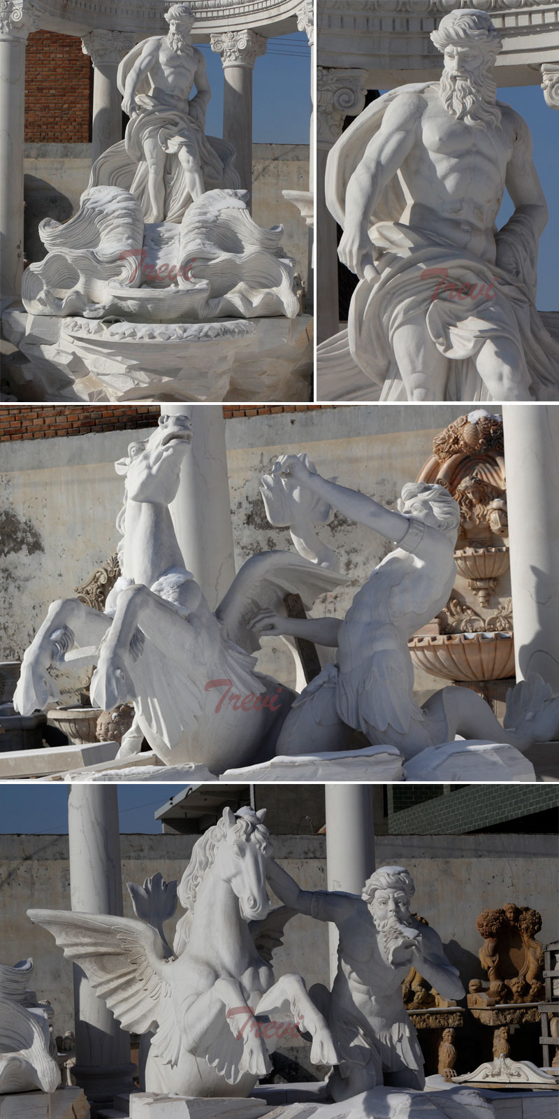 Outdoor large Trevi white marble water fountain for swiming pool decoration details