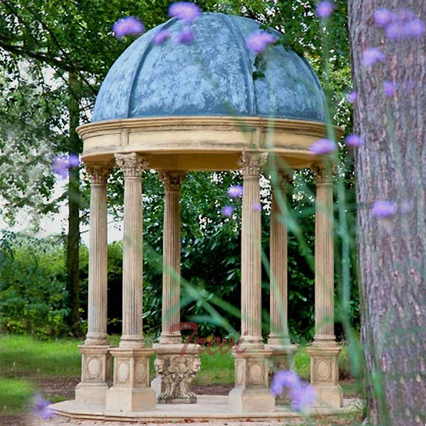 Outdoor patio round antique beige marble gazebo with blue metal dome UK for sale TMG-30