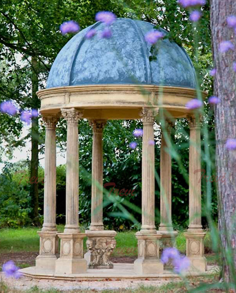 Outdoor patio round antique beige marble gazebo with blue metal dome designs UK for sale