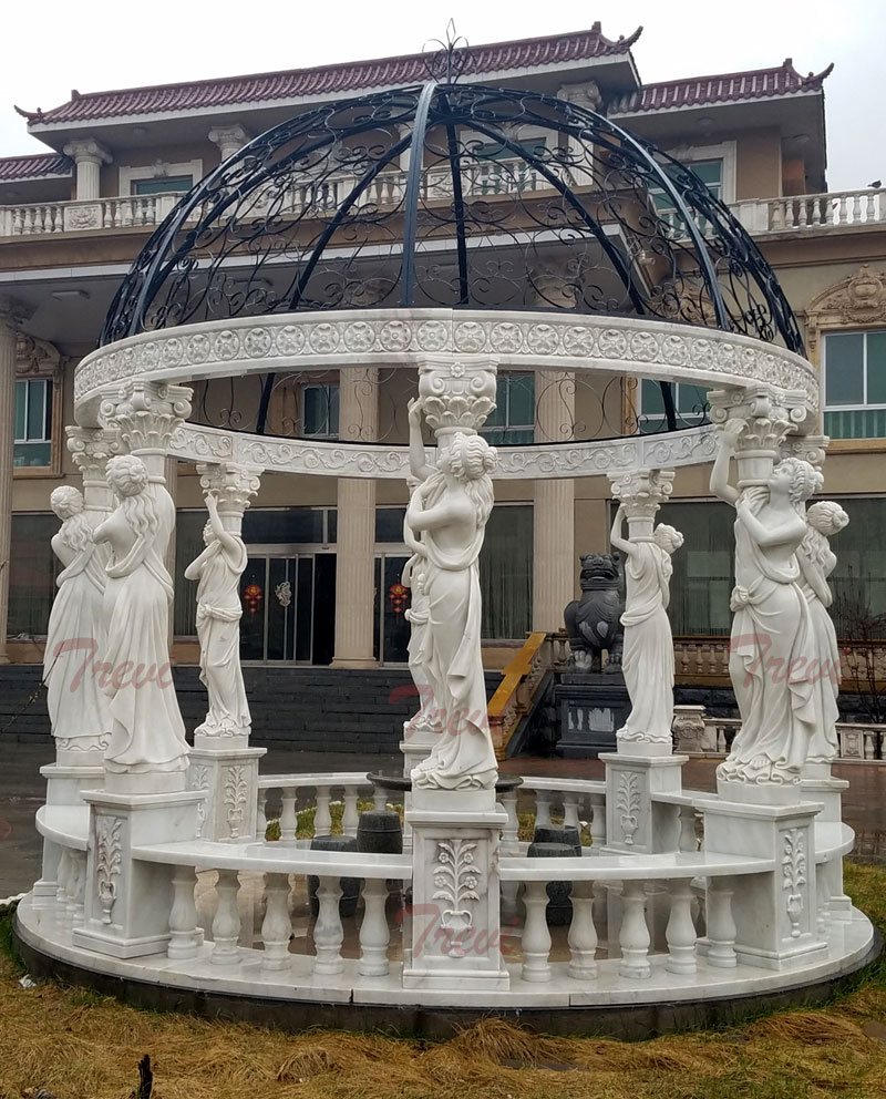 Patio white marble round gazebo with lady statues designsPatio white marble round gazebo with lady statues designs