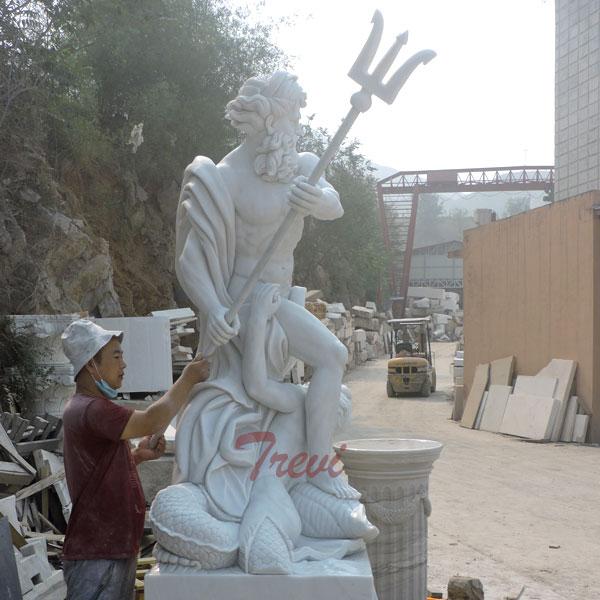 Poseidon greek garden marble life size statues for sale details