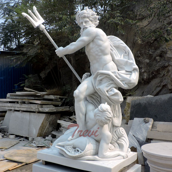 Garden Decoration Marble Poseidon with Trident Sculpture for sale TMC-19