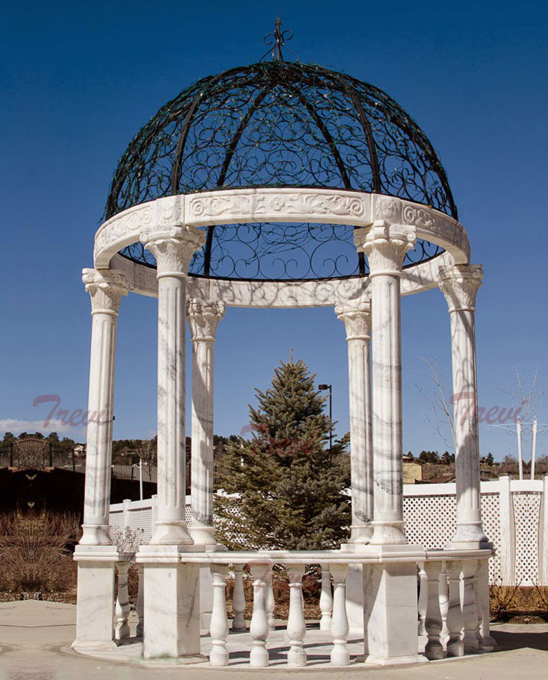 Round white stone outdoor wedding decorative gazebo designs for sale
