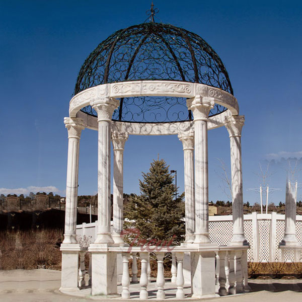 Round white stone outdoor wedding decorative gazebo for sale TMG-26