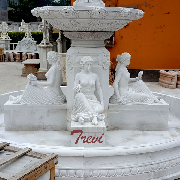 White marble 2 tiers outdoor water fountains with sitting woman statues for sale TMF-23