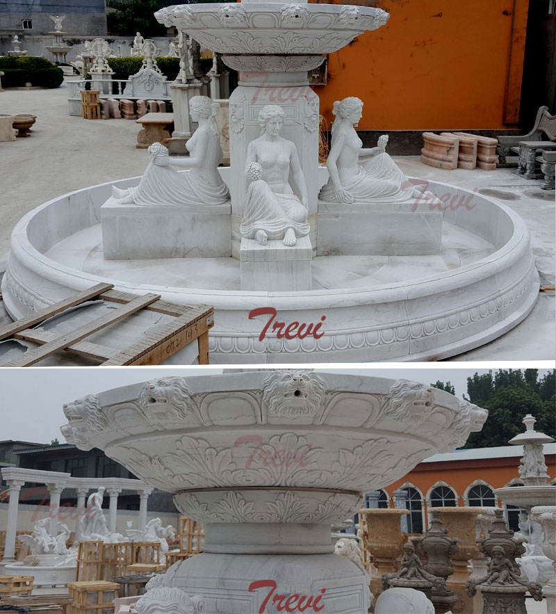 White marble 2 tiers outdoor water fountains with sitting woman statues for sale details