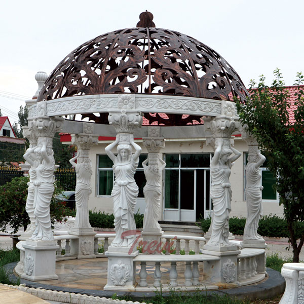 Outdoor White Marble Garden Gazebo Decorative Round with Metal Dome for Sale TMG-24