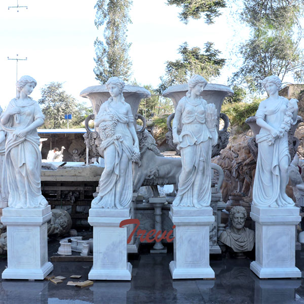 White marble four season statues set with base design for sale TMC-22