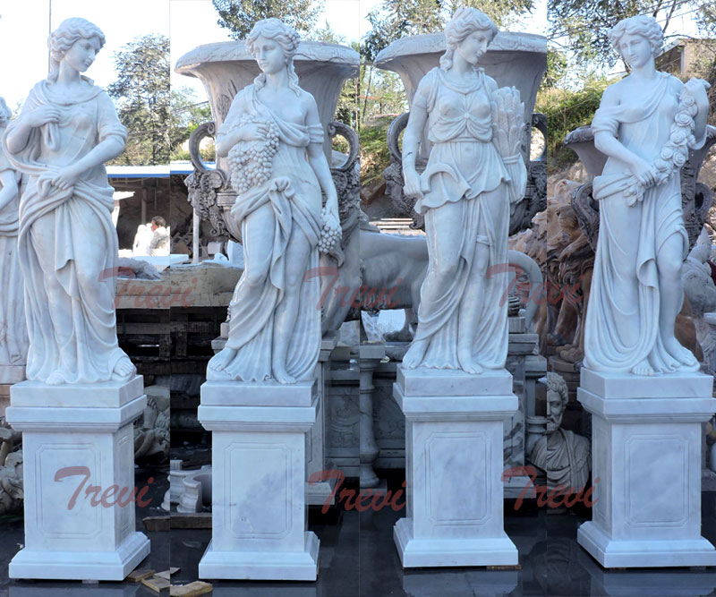 White marble four season statues set with base for sale