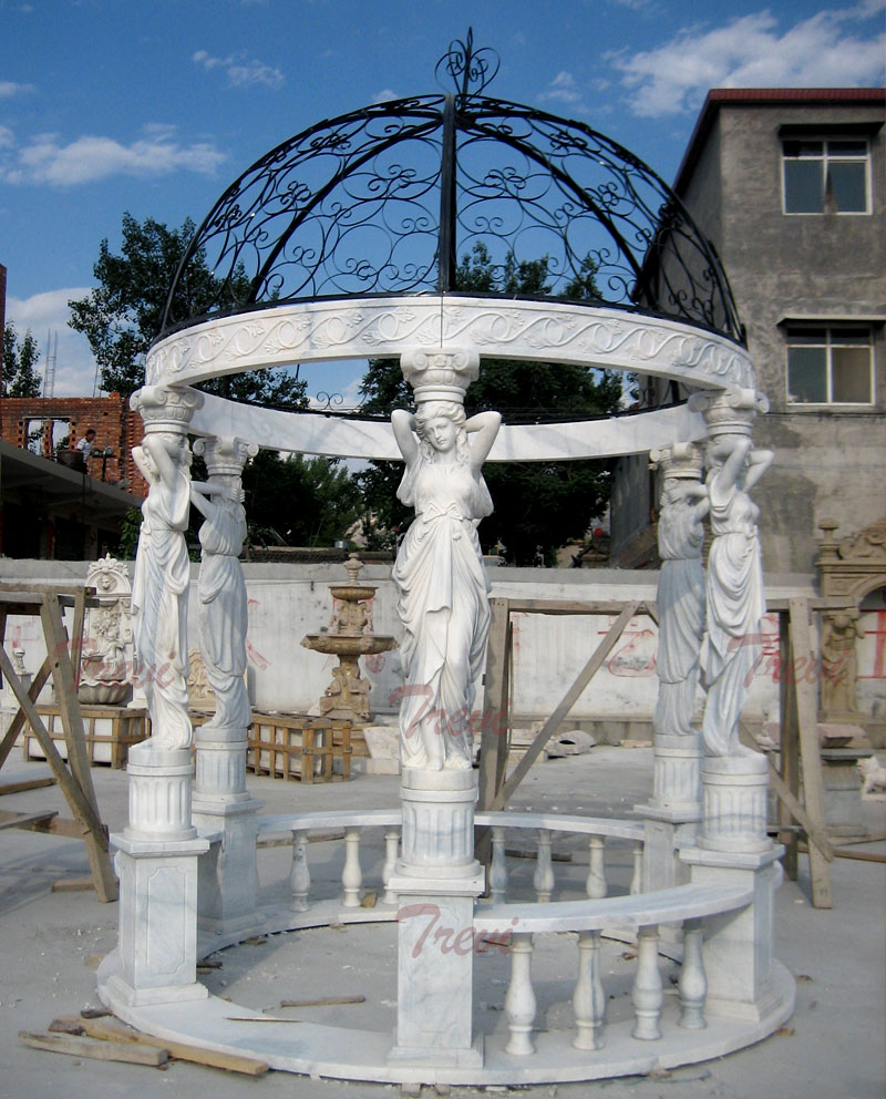 White marble garden round gazebo with metal dome deigns for sale