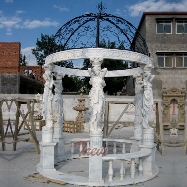 White marble garden round gazebo with metal dome for sale