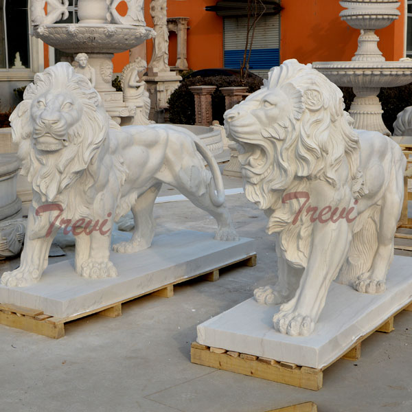 China Marble standing lion Statue for Guarding Entrance TMA-08