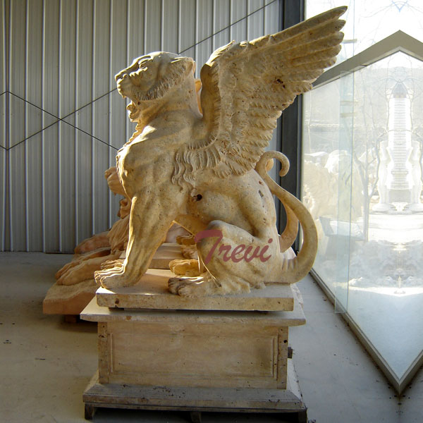Antique marble stone gargoyle garden statues for driveway TMA-22