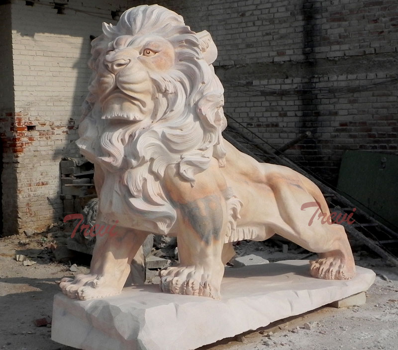Big chinese marble lion life size in front of house outdoor ornaments