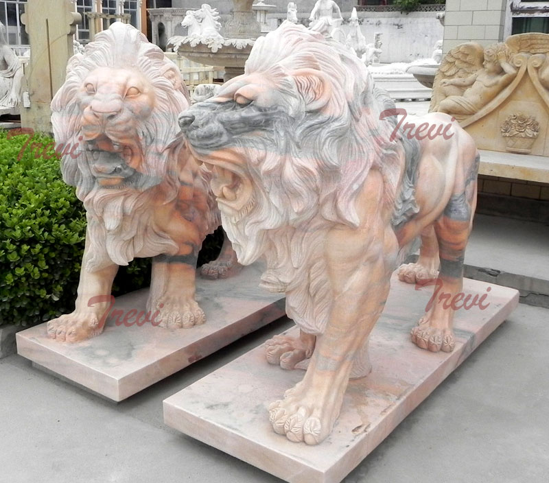 Buy a pair roaring lion sculpture in front of house decor