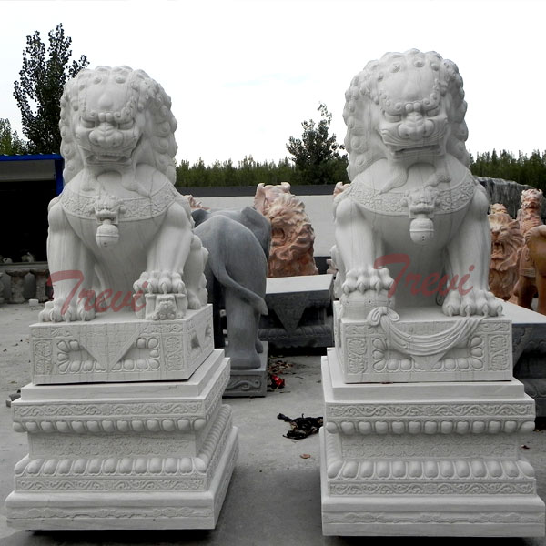 Buy chinese foo dog pair of white lion statues for driveway TMA-07