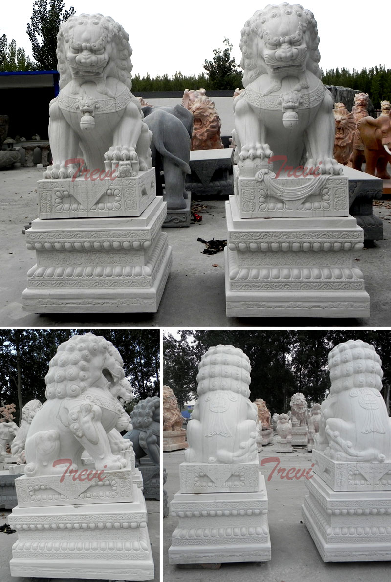 Buy chinese pair of white lion statues for driveway designs
