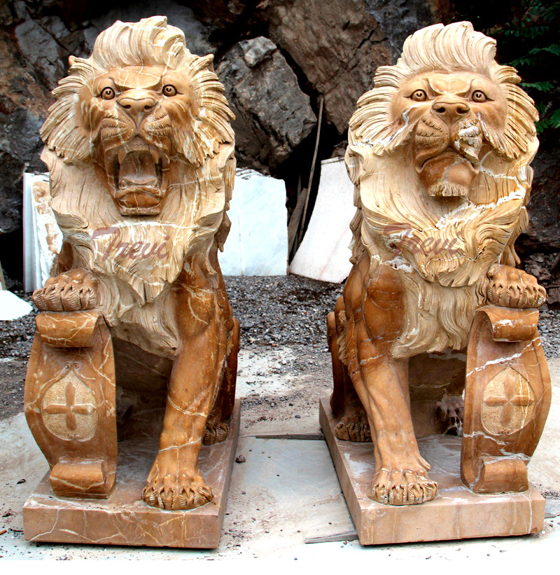 Buy pair of life size beige marble sitting lion statue with shield for house