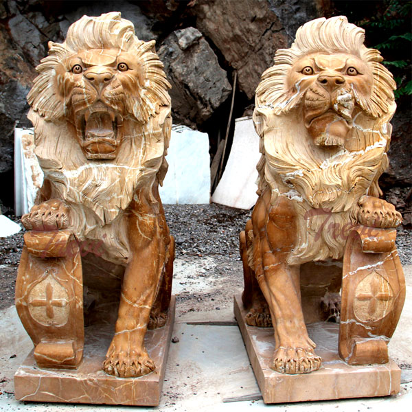 Buy pair of life size sitting lion statue with shield for house TMA-11