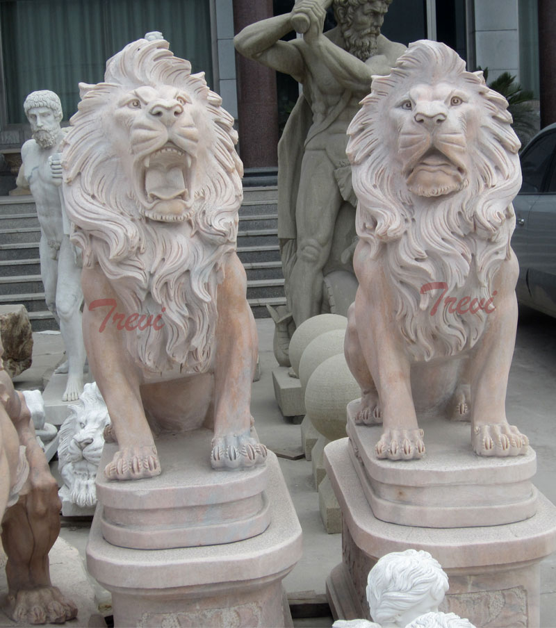Chinese marble guardian sitting roaring lion statues a pair