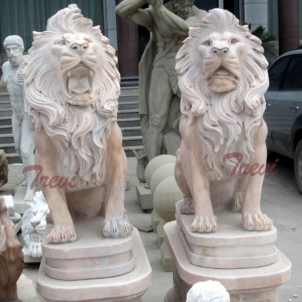 Outdoor Marble Sitting Roaring Lion Statues for Sale TMA-16