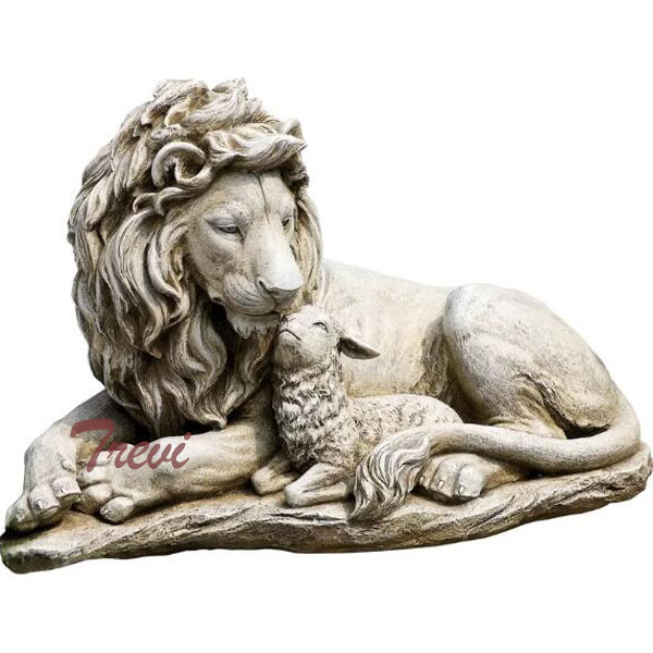 Chinese marble lion and lamb statues outdoor garden decor