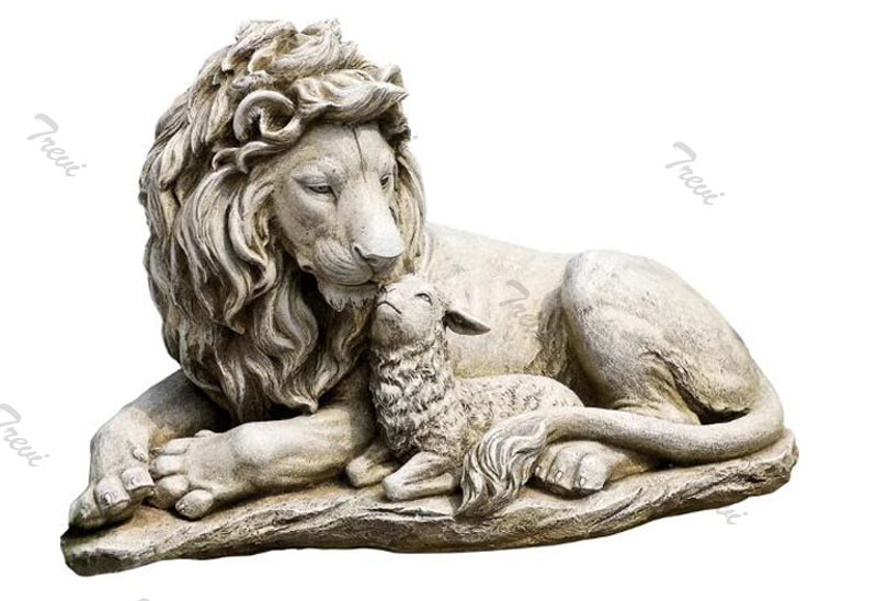 Chinese marble lion and lamb statues outdoor garden decor for sale