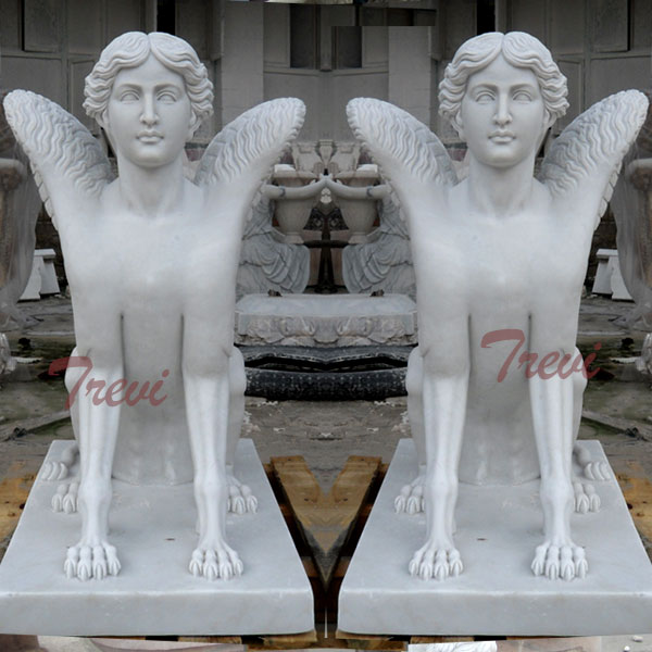 Chinese white marble roman sphinnx statues for sale