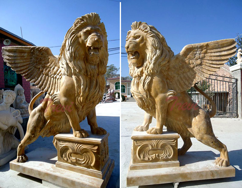 Decorative lion gargoyle statues in front of house for sale