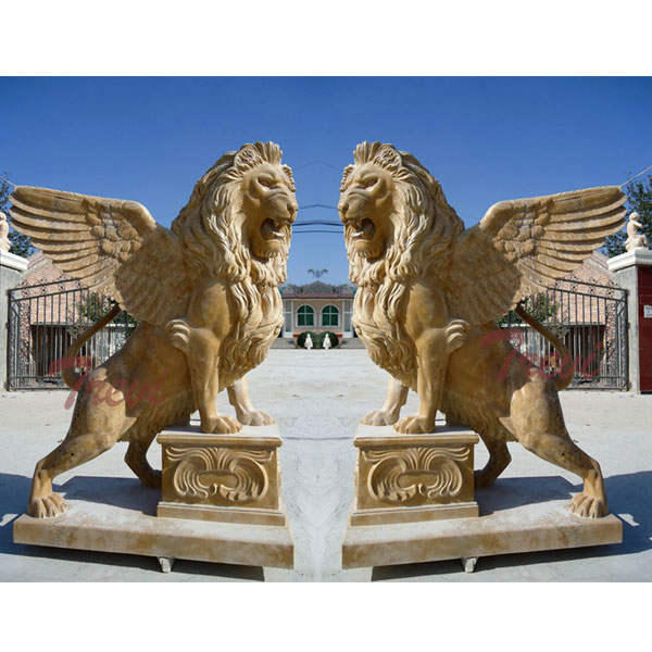 Decorative lion gargoyle statues in front of house for sale TMA-10