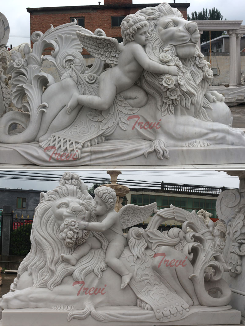 Garden angel and winged big lying decorative lion statues for sale outdoor