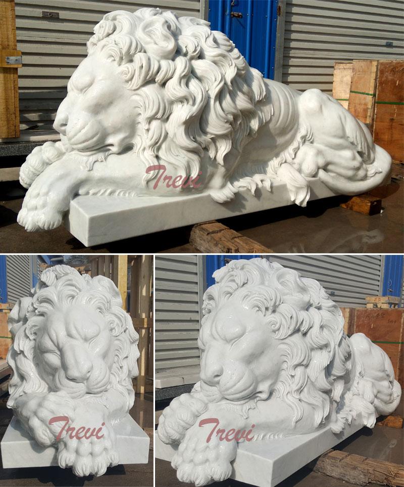 Life size white sleeping lion statue for house garden