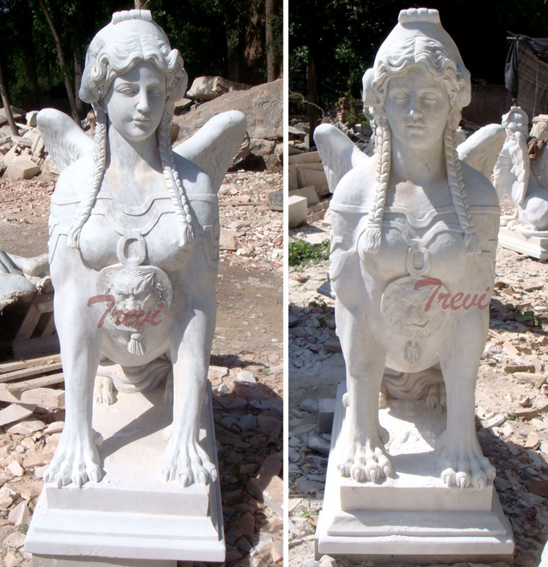 Outdoor antique decorative marble sphinnx garden statues for sale
