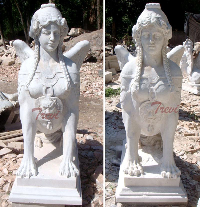 Outdoor antique decorative marble sphinnx garden statues for sale