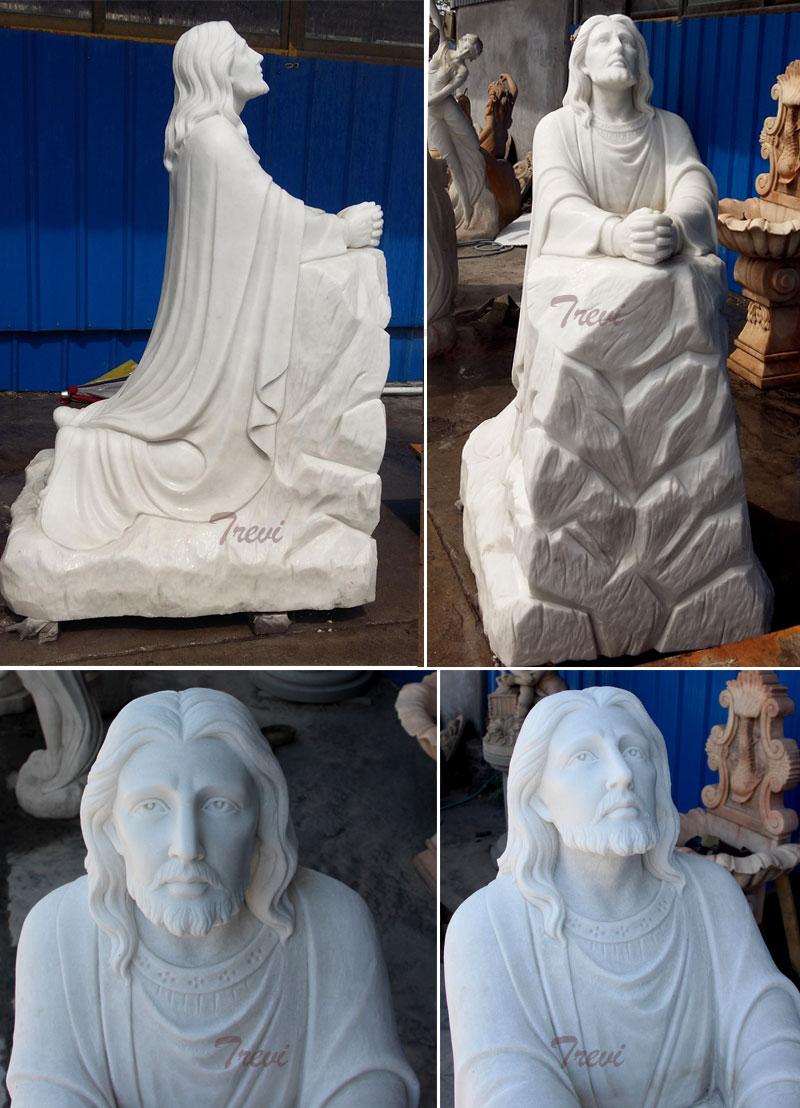 Outdoor religious garden marble statues of life size christian jesus kneeling in the garden of Gethsemane prayer details for sale