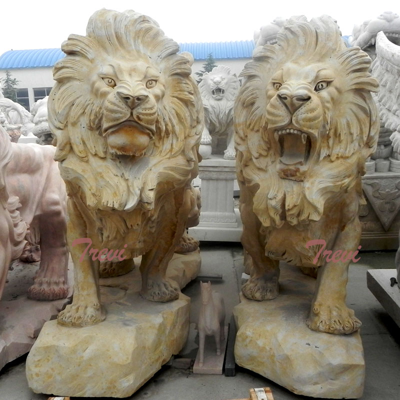 Pair of antique big guardian lion statue outside houses for sale