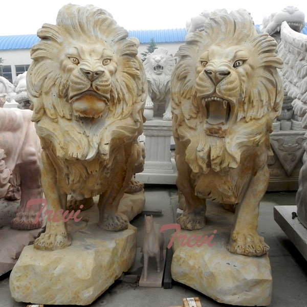 Pair of antique big guardian lion statue outside houses for sale TMA-04