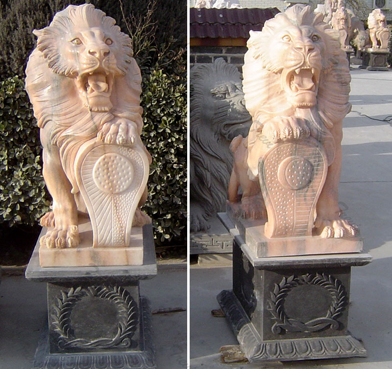Pair of life size stone lion statue with shield for house outdoor