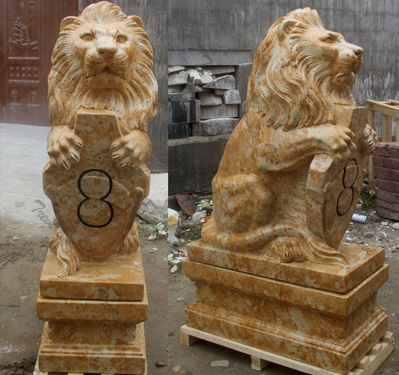 Pair of outdoor sitting lion with shield garden statue for driveway