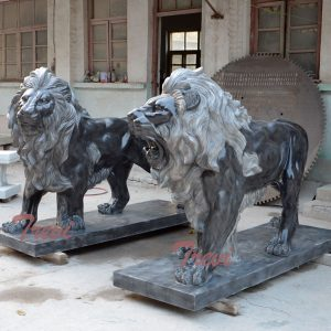 Hand Carved Marble Black Lion Statue in Pair for Gate and