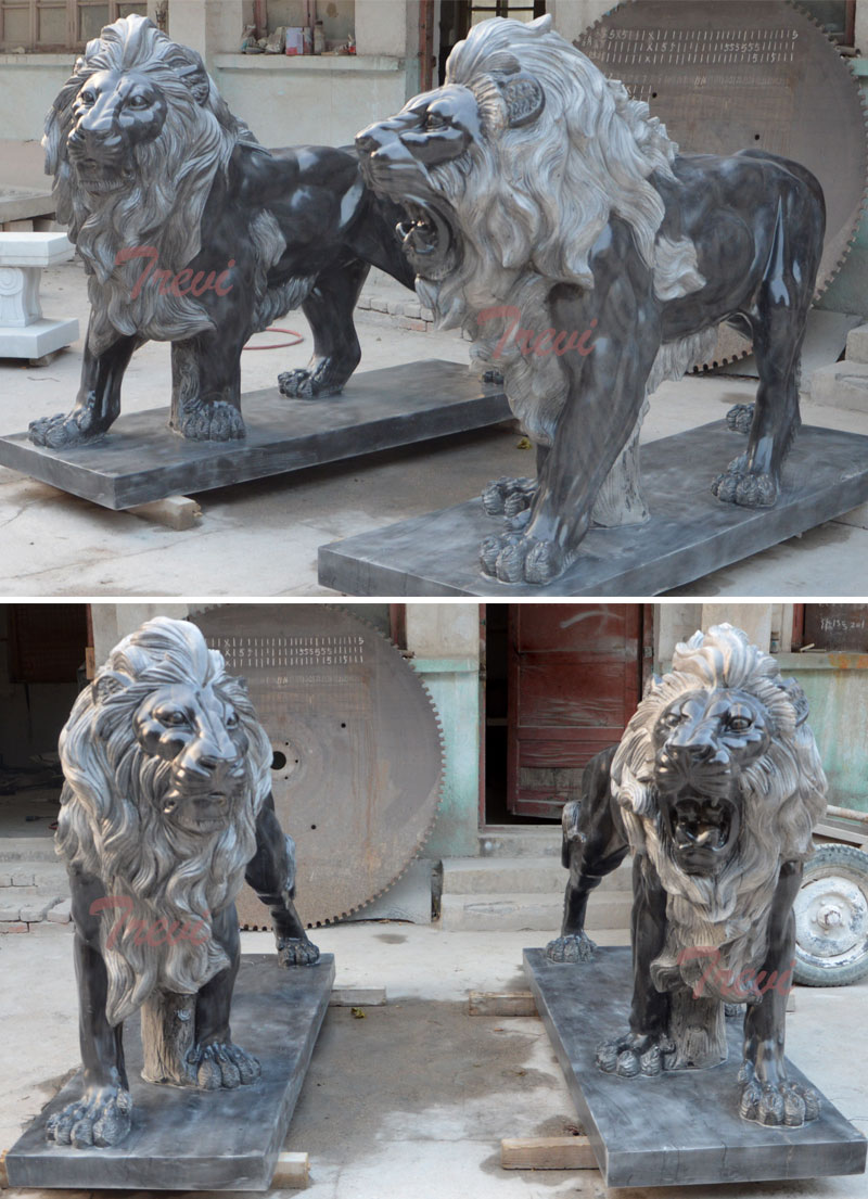 Pair Of Standing Black Lions Statue In Front Of House Tma