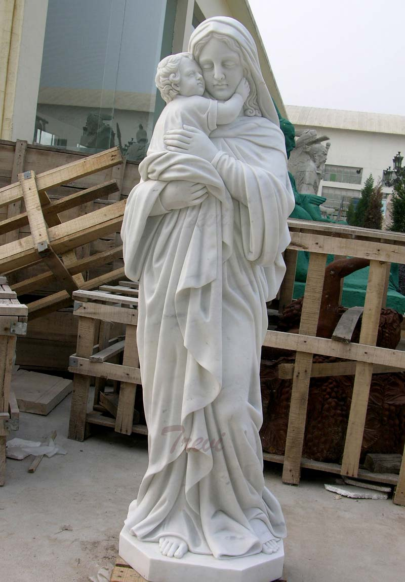 Religious garden marble statues of madonna and child outdoor statues for sale