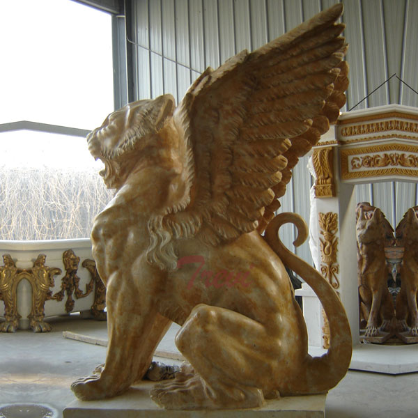 Standing winged stone lion gargoyle statues outside houses