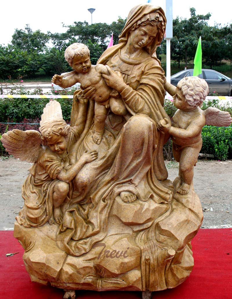 The madonna and child large outdoor antique beige marble religious statues for sale